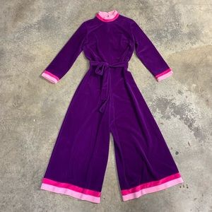 Vintage Velour Wide Leg Lounge Jumpsuit Purple